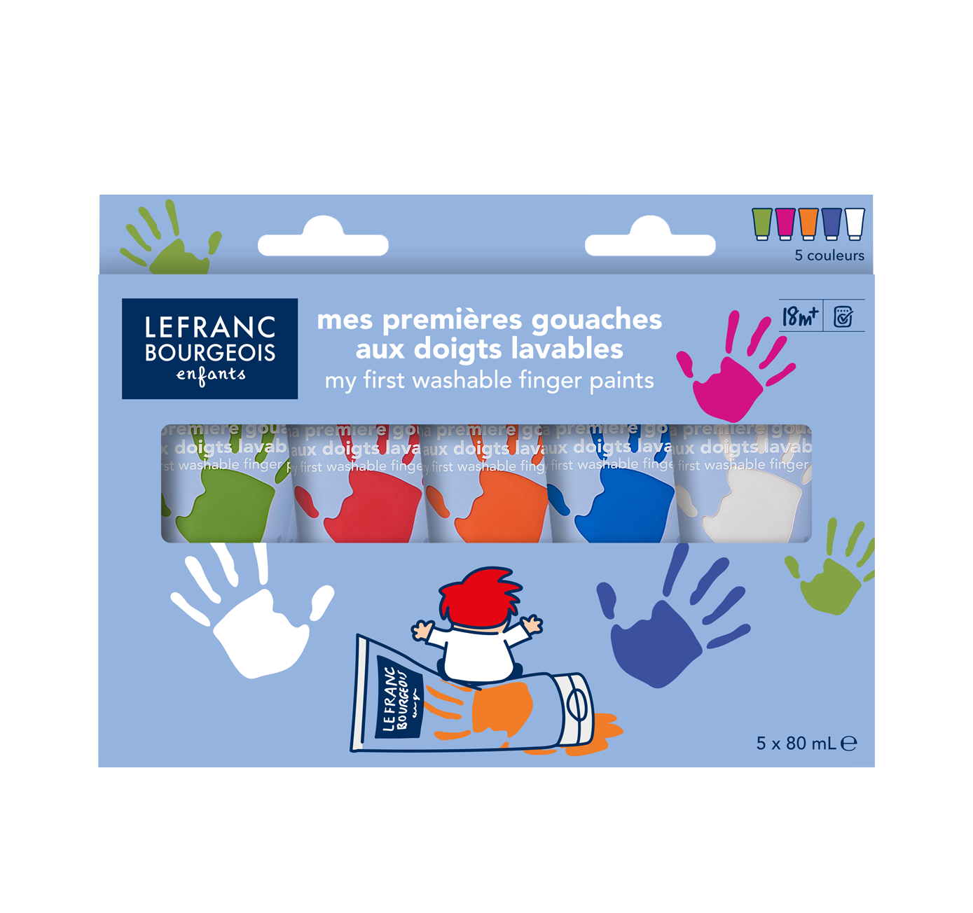 Lefranc Bourgeois Kids my first washable finger paints fun colours