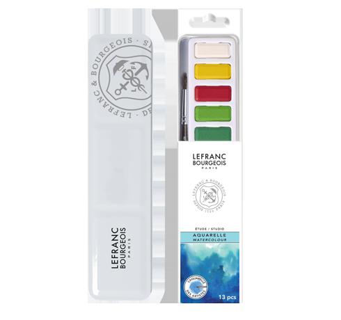 Studio Watercolour Pocket Metal Set 12 Half Pans Lefranc Bourgeois